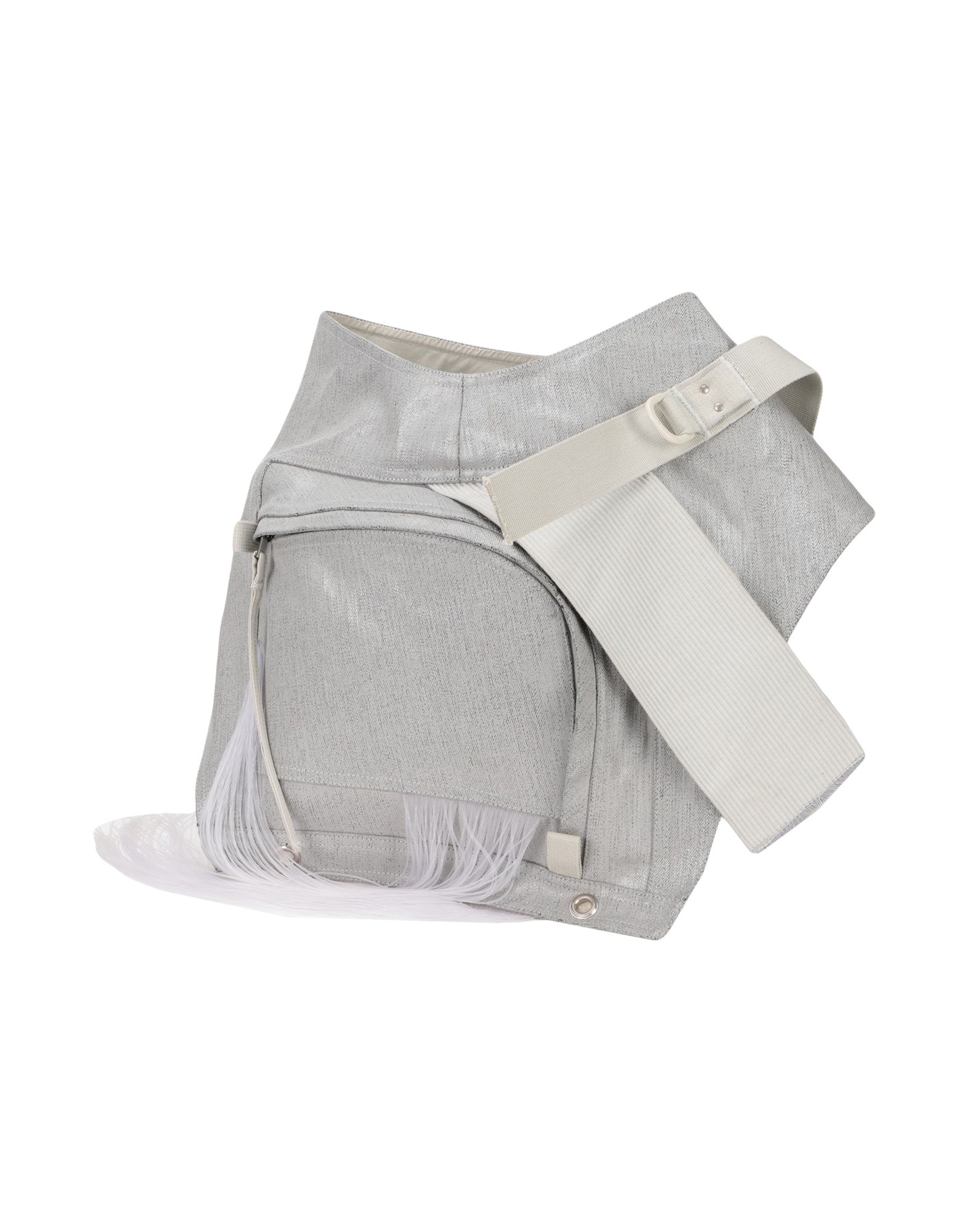 RICK OWENS Backpacks & Fanny packs. mini, plain weave, coated effect, fringe, solid color, zip, internal zip pocket, fully lined. 100% Cotton, Rubber, Polyester