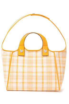 TORY BURCH Leather-trimmed checked woven tote