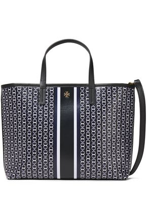 TORY BURCH Leather-trimmed logo-appliquéd printed canvas shoulder bag