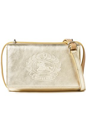 BURBERRY Logo-embossed metallic textured-leather shoulder bag