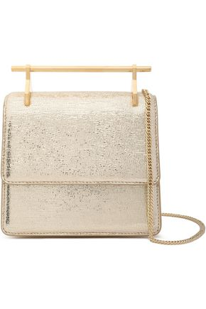 M2MALLETIER La Collectionneuse metallic stingray-effect leather shoulder bag