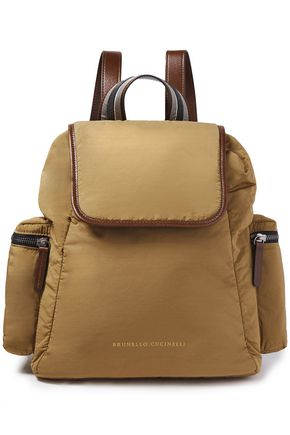 BRUNELLO CUCINELLI Leather-trimmed bead-embellished shell backpack