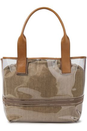 BRUNELLO CUCINELLI Leather-trimmed bead-embellished PVC and canvas tote