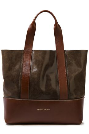 BRUNELLO CUCINELLI Bead-embellished paneled textured-leather tote
