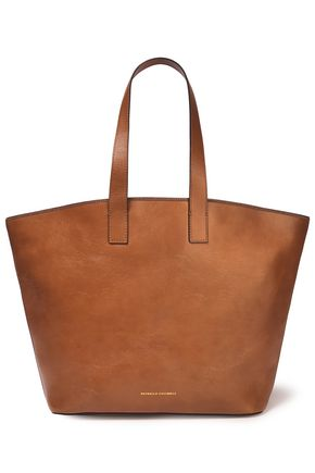 BRUNELLO CUCINELLI Bead-embellished textured-leather tote