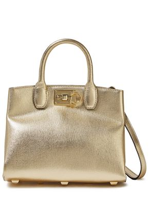 SALVATORE FERRAGAMO Metallic textured-leather shoulder bag