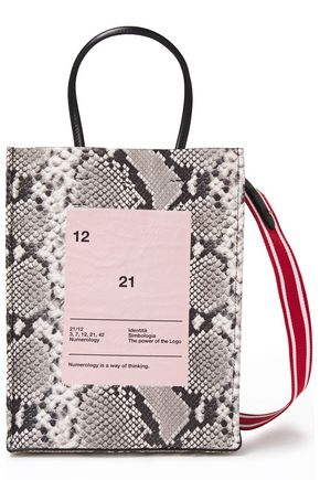 N°21 Small printed snake-effect leather tote