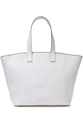 BRUNELLO CUCINELLI Bead-embellished textured-leather shoulder bag