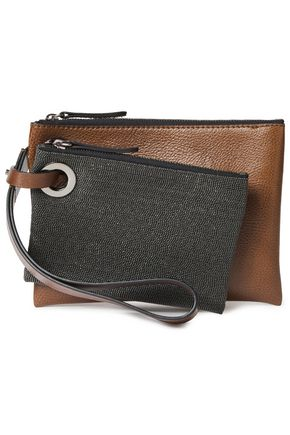 BRUNELLO CUCINELLI Bead-embellished two-tone textured-leather envelope clutch