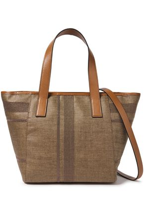 BRUNELLO CUCINELLI Leather-trimmed bead-embellished herringbone woven tote