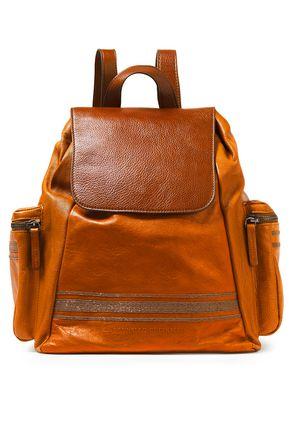 BRUNELLO CUCINELLI حقيبة ظهر من الجلد النافر مزينة بالخرز