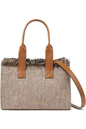 BRUNELLO CUCINELLI Bead-embellished leather-trimmed frayed canvas tote