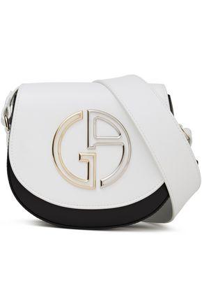 GIORGIO ARMANI حقيبة كتف من الجلد بلونين مزينة بشعار الماركة