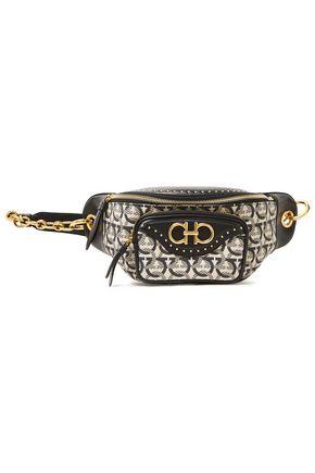 SALVATORE FERRAGAMO Embellished jacquard-paneled leather belt bag