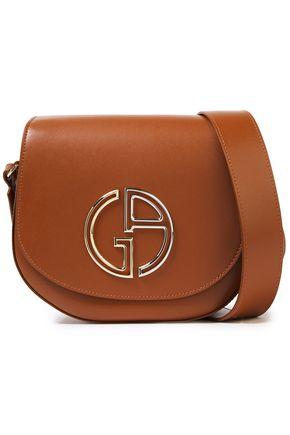 GIORGIO ARMANI حقيبة كتف من الجلد مزينة بشعار الماركة