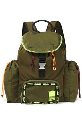 GANNI Neon-trimmed logo-print shell backpack