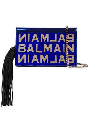 BALMAIN Tasseled mirrored-leather shoulder bag