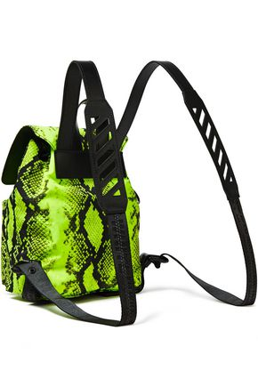 OFF-WHITE™ Leather-trimmed neon snake-print shell backpack