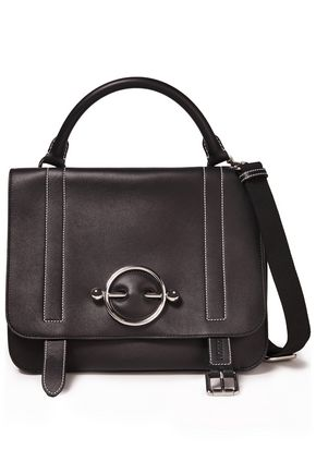 J.W.ANDERSON Disc suede-paneled barbell-embellished leather shoulder bag