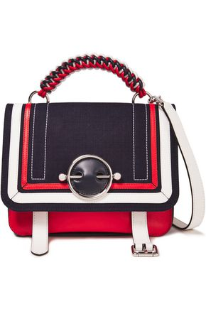 J.W.ANDERSON Disc lace-up canvas-paneled leather shoulder bag