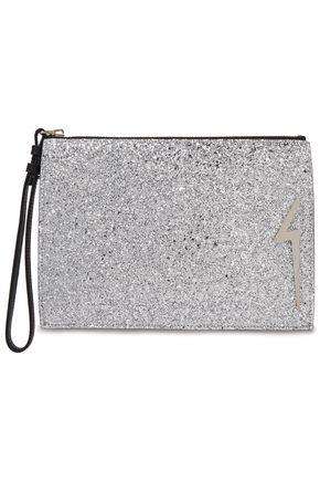 GIUSEPPE ZANOTTI G-Glitter appliquéd glittered leather pouch