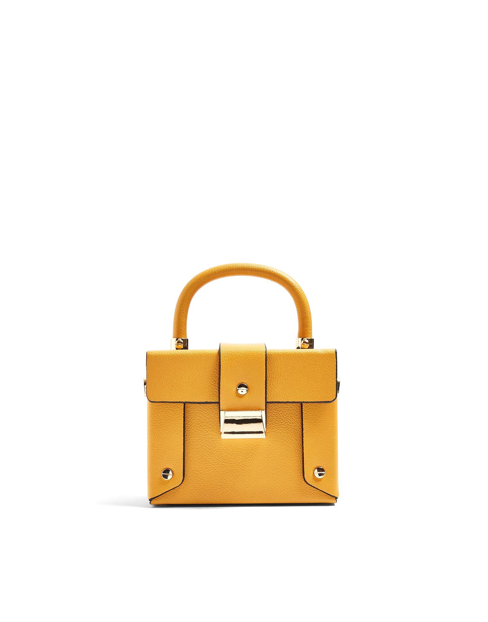 《セール開催中》TOPSHOP レディース メッセンジャーバッグ オークル ポリウレタン 100% STROBE MUSTARD BOXY BAG