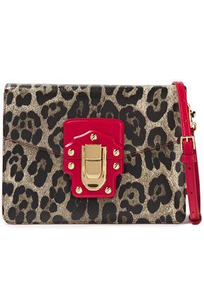 DOLCE & GABBANA Lucia leopard-print textured-leather shoulder bag