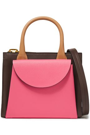 MARNI Law color-block textured and pebbled-leather shoulder bag