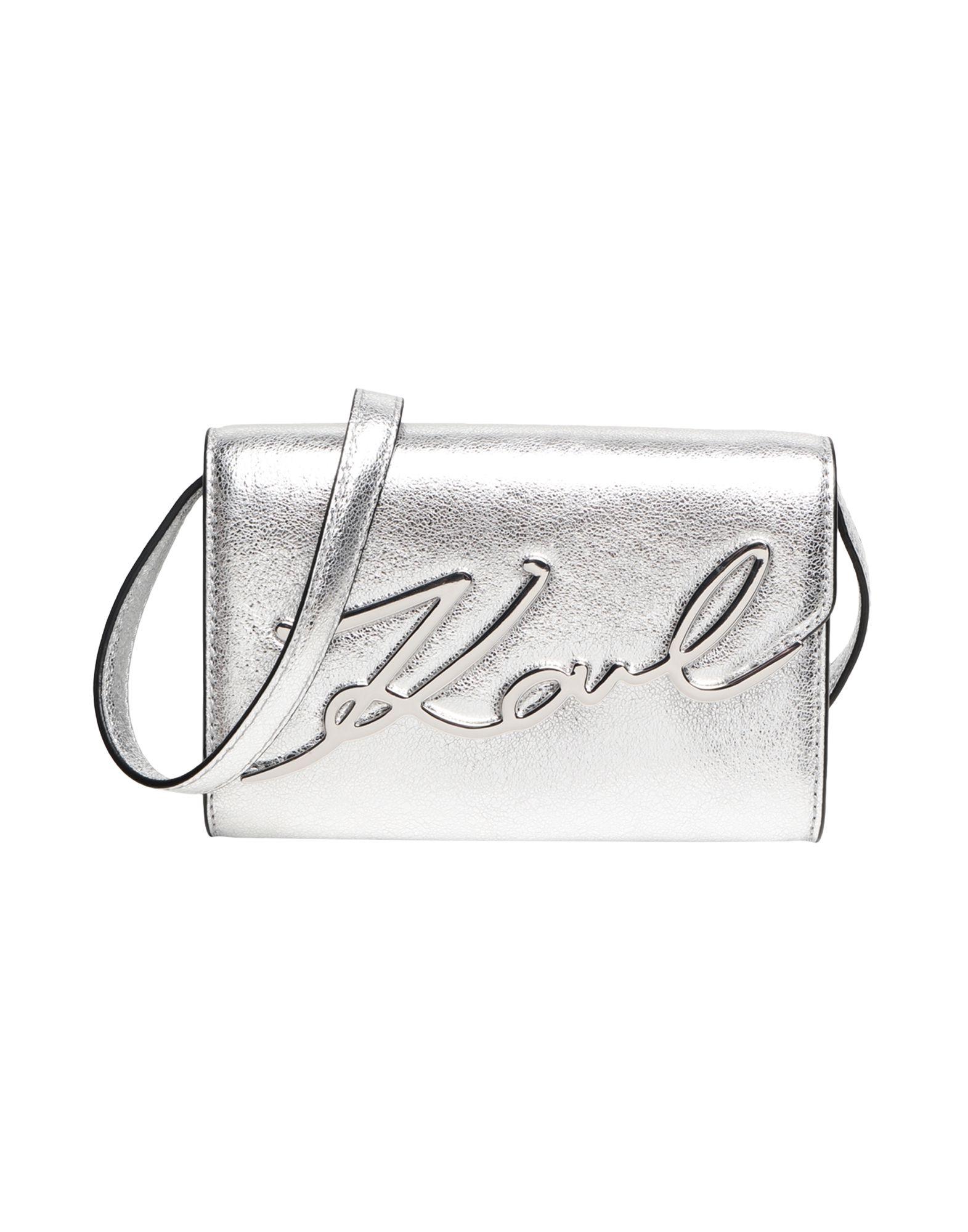 《セール開催中》KARL LAGERFELD レディース バックパック&ヒップバッグ シルバー 牛革 100% K/Signature Metallic Belt-Bag