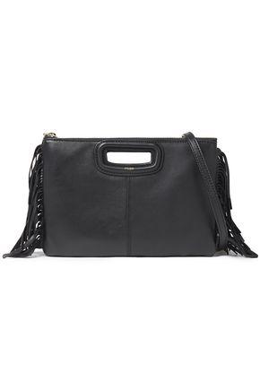 MAJE Fringe-trimmed leather clutch