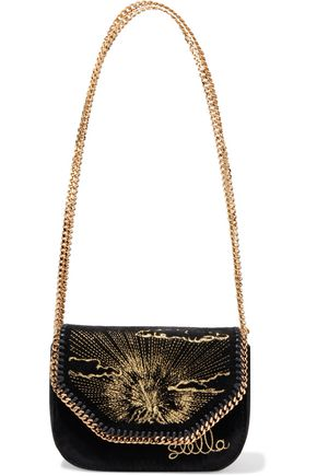 STELLA McCARTNEY Falabella embellished velvet shoulder bag