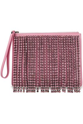 CHRISTOPHER KANE Crystal-embellished leather pouch
