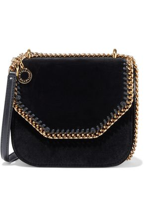 STELLA McCARTNEY Falabella chain-trimmed velvet shoulder bag