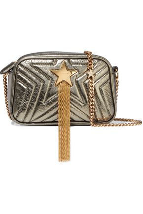 STELLA McCARTNEY Stella Star Mini fringed quilted metallic faux leather shoulder bag