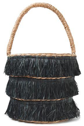 """KAYU حقيبة توت صغيرة """"لوليتا"""" من القش المحبوك مزينة بأشرطة"""