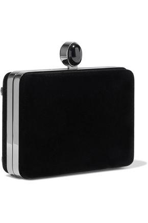 OSCAR DE LA RENTA Rogan embellished velvet box clutch