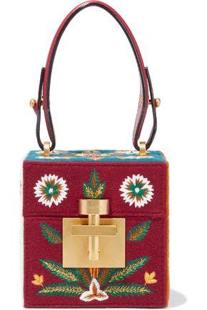 OSCAR DE LA RENTA Alibi Cube embroidered wool-felt shoulder bag