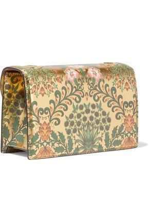 OSCAR DE LA RENTA TRO appliquéd floral-print metallic textured-leather shoulder bag