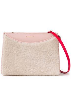 MARNI حقيبة كتف من الجلد مع أجزاء من صوف الحمل