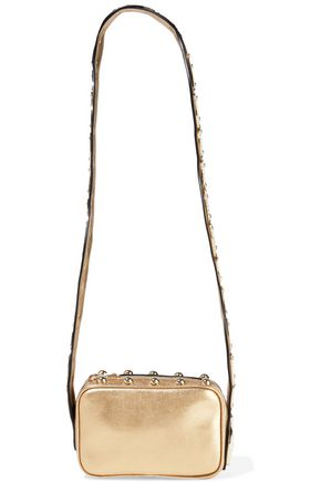 RED(V) Snake Strap studded metallic leather shoulder bag
