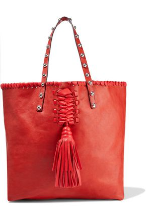 RED(V) Tasseled studded leather tote