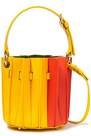 SARA BATTAGLIA Plissé mini color-block leather bucket bag