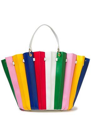 SARA BATTAGLIA Teodora pleated studded striped leather shoulder bag
