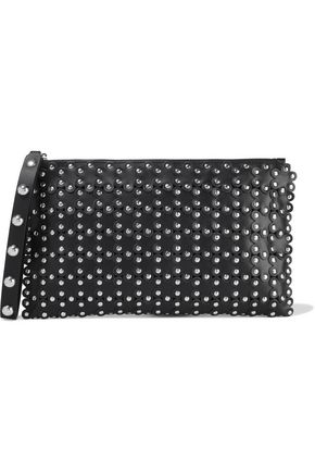 RED(V) Flower Puzzle studded leather clutch