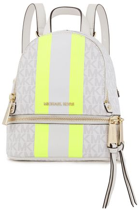 MICHAEL MICHAEL KORS Neon-trimmed logo-print faux textured-leather backpack