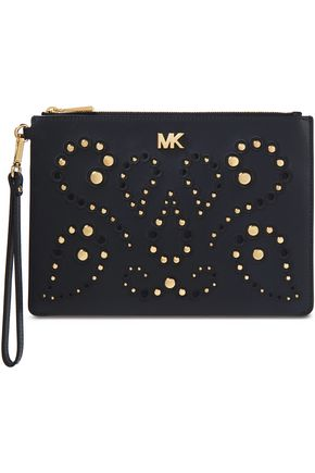 MICHAEL MICHAEL KORS Laser-cut embroidered studded leather clutch