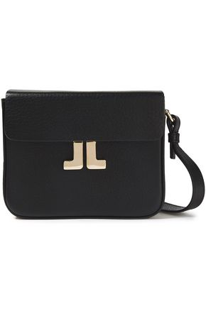 LANVIN JL logo-appliquéd textured-leather shoulder bag