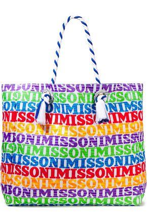 MISSONI MARE حقيبة توت من الكنفا المطبع بشعار الماركة
