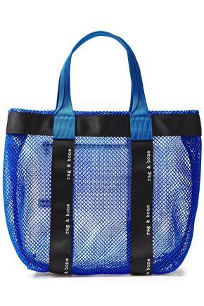 RAG & BONE حقيبة توت من الشبك مزخرفة بلون نيون ومطبعة بشعار الماركة