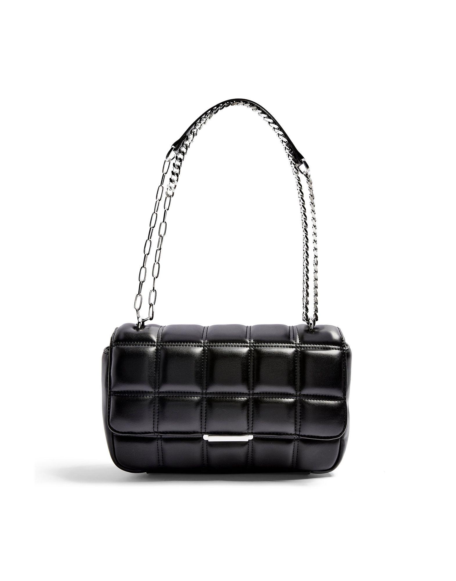 《セール開催中》TOPSHOP レディース メッセンジャーバッグ ブラック ポリウレタン 100% SABRINA BLACK QUILTED SHOULDER BAG